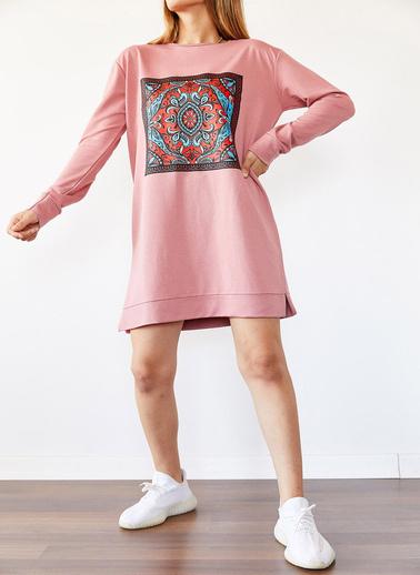 XHAN Mint Etnik Desen Sweatshirt Elbise  0Yxk8-43978-58 Pudra
